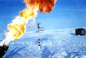 the burners are throwing fire over the North Pole marker.