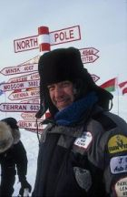 C. Jeff Dyrek, webmaster, standing on the North Pole making Free Videos.